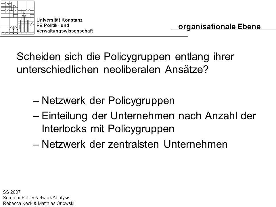 Universität Konstanz FB Politik- und Verwaltungswissenschaft SS 2007 Seminar Policy Network Analysis Rebecca Keck & Matthias Orlowski organisationale
