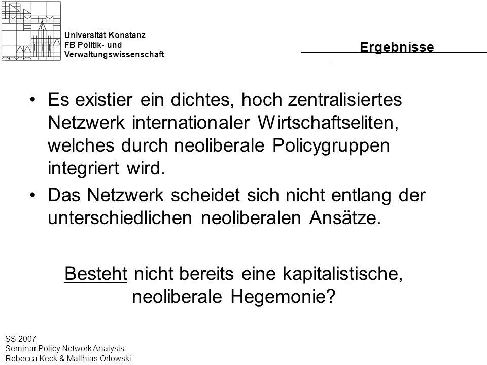 Universität Konstanz FB Politik- und Verwaltungswissenschaft SS 2007 Seminar Policy Network Analysis Rebecca Keck & Matthias Orlowski Ergebnisse Es ex
