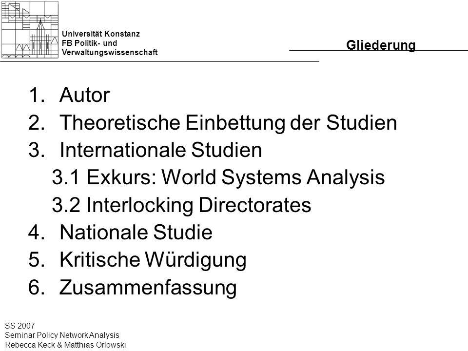 Universität Konstanz FB Politik- und Verwaltungswissenschaft SS 2007 Seminar Policy Network Analysis Rebecca Keck & Matthias Orlowski Gliederung 1.Aut
