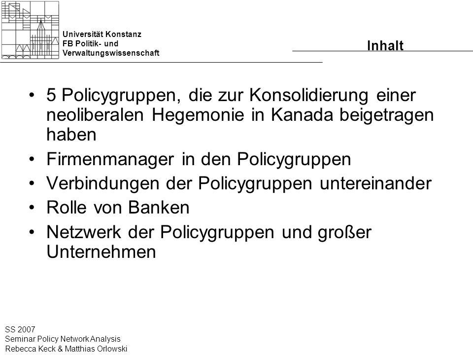 Universität Konstanz FB Politik- und Verwaltungswissenschaft SS 2007 Seminar Policy Network Analysis Rebecca Keck & Matthias Orlowski Inhalt 5 Policyg