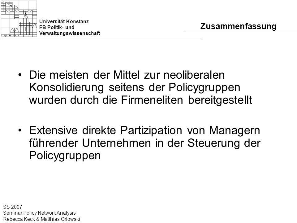 Universität Konstanz FB Politik- und Verwaltungswissenschaft SS 2007 Seminar Policy Network Analysis Rebecca Keck & Matthias Orlowski Zusammenfassung