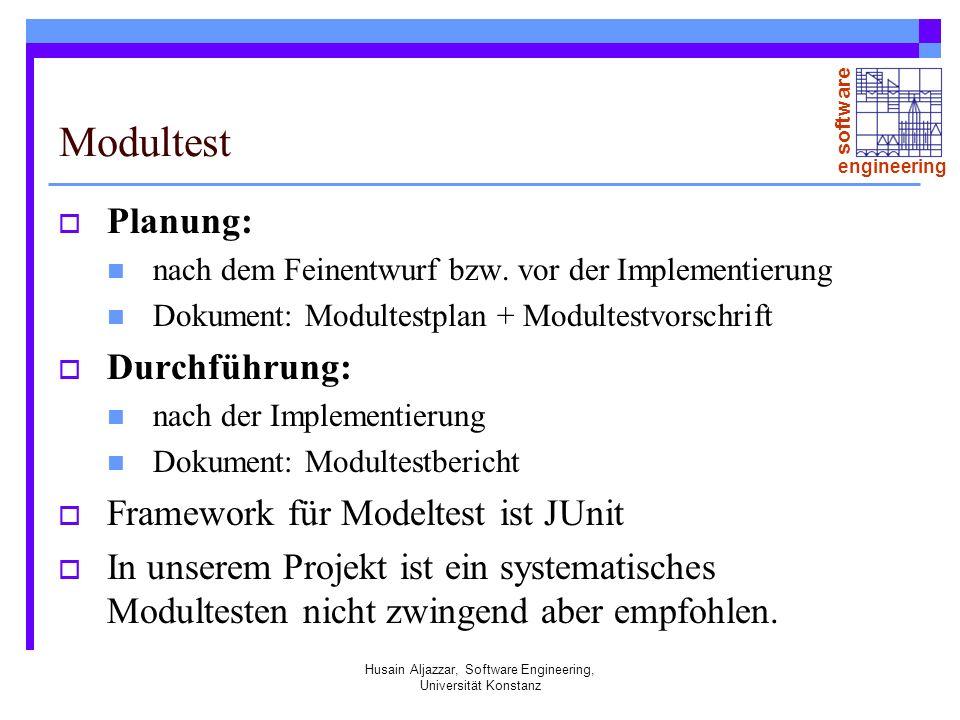 software engineering Husain Aljazzar, Software Engineering, Universität Konstanz Modultest Planung: nach dem Feinentwurf bzw.