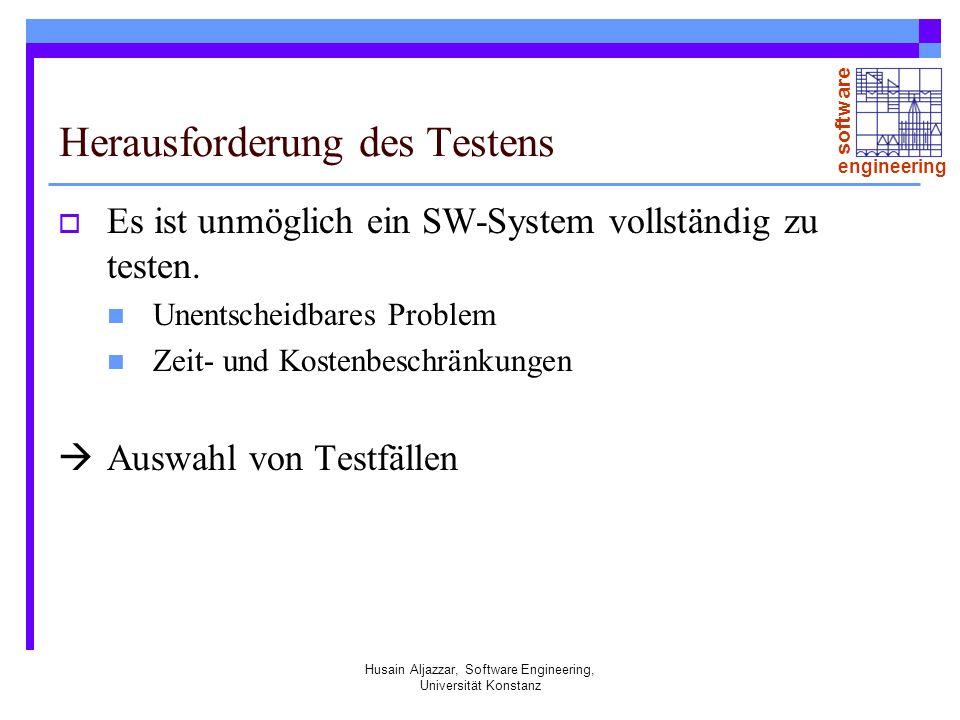 software engineering Husain Aljazzar, Software Engineering, Universität Konstanz Herausforderung des Testens Es ist unmöglich ein SW-System vollständig zu testen.