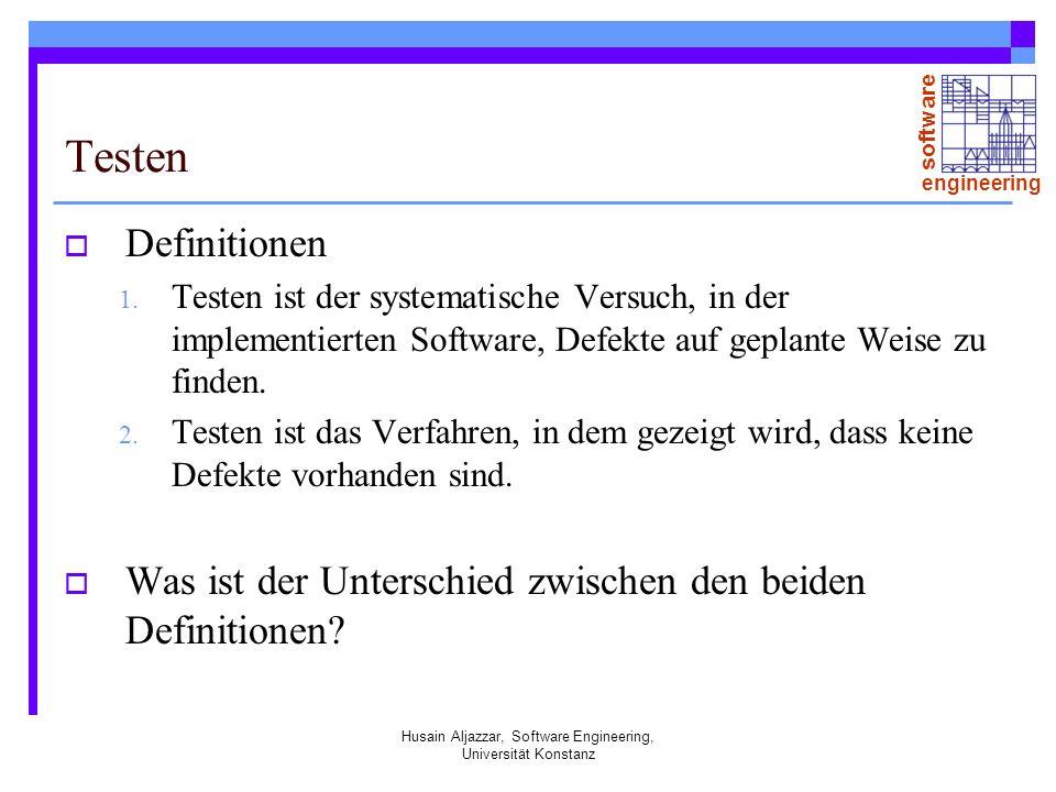 software engineering Husain Aljazzar, Software Engineering, Universität Konstanz Testen Definitionen 1.
