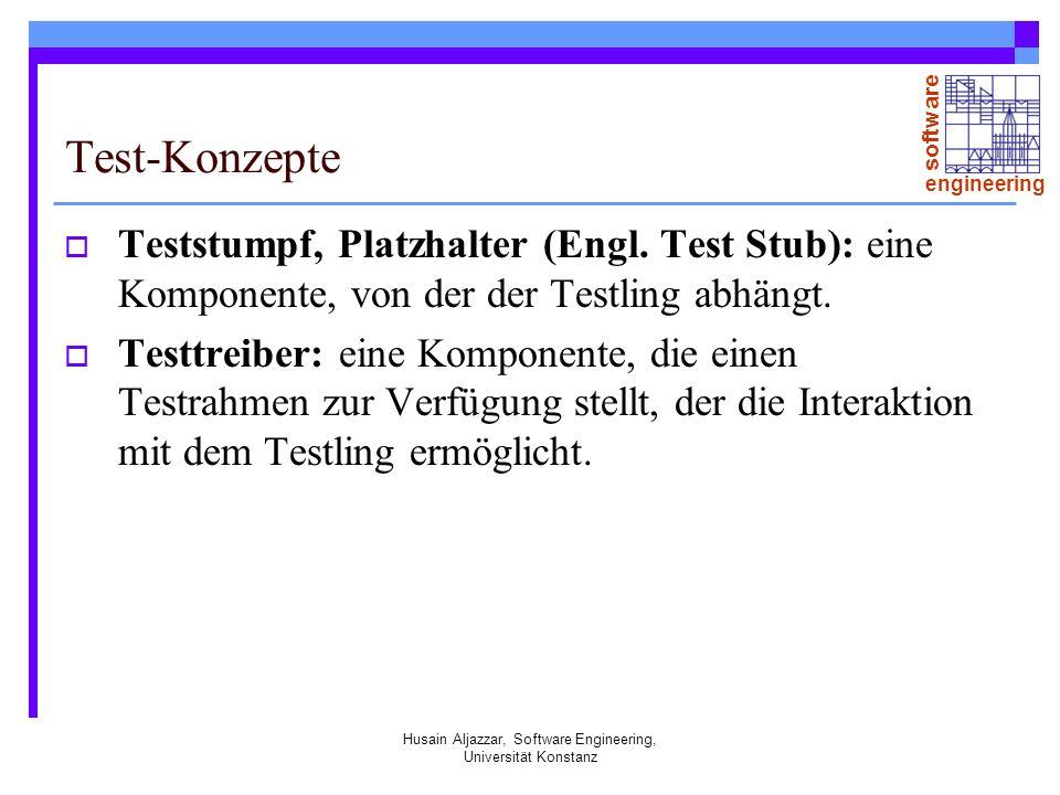 software engineering Husain Aljazzar, Software Engineering, Universität Konstanz Korrektur Testen deckt Störfälle auf aber nicht automatisch die verursachende Defekte (Bugs).