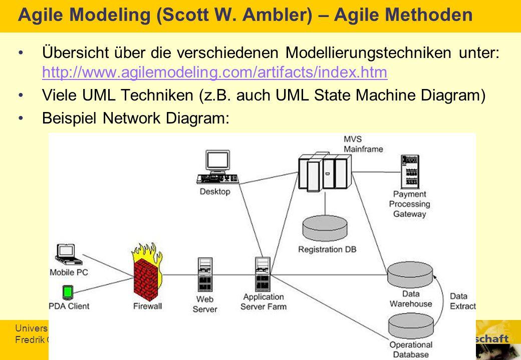 Universität Konstanz Fredrik Gundelsweiler & Thomas Memmel Agile Modeling (Scott W. Ambler) – Agile Methoden Übersicht über die verschiedenen Modellie