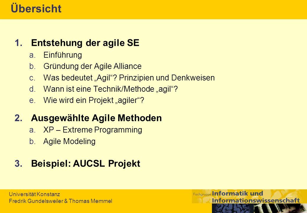 Universität Konstanz Fredrik Gundelsweiler & Thomas Memmel Übersicht 1.Entstehung der agile SE a.Einführung b.Gründung der Agile Alliance c.Was bedeut