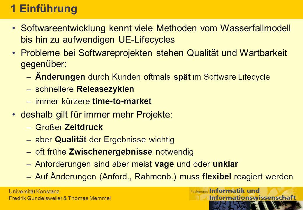 Universität Konstanz Fredrik Gundelsweiler & Thomas Memmel Quellen II Customer-Rolle –Thorup, Lars and Jepsen, Ole: Report on XP Workshop at JAOO 2003 - Improving Customer Developer Collaboration.