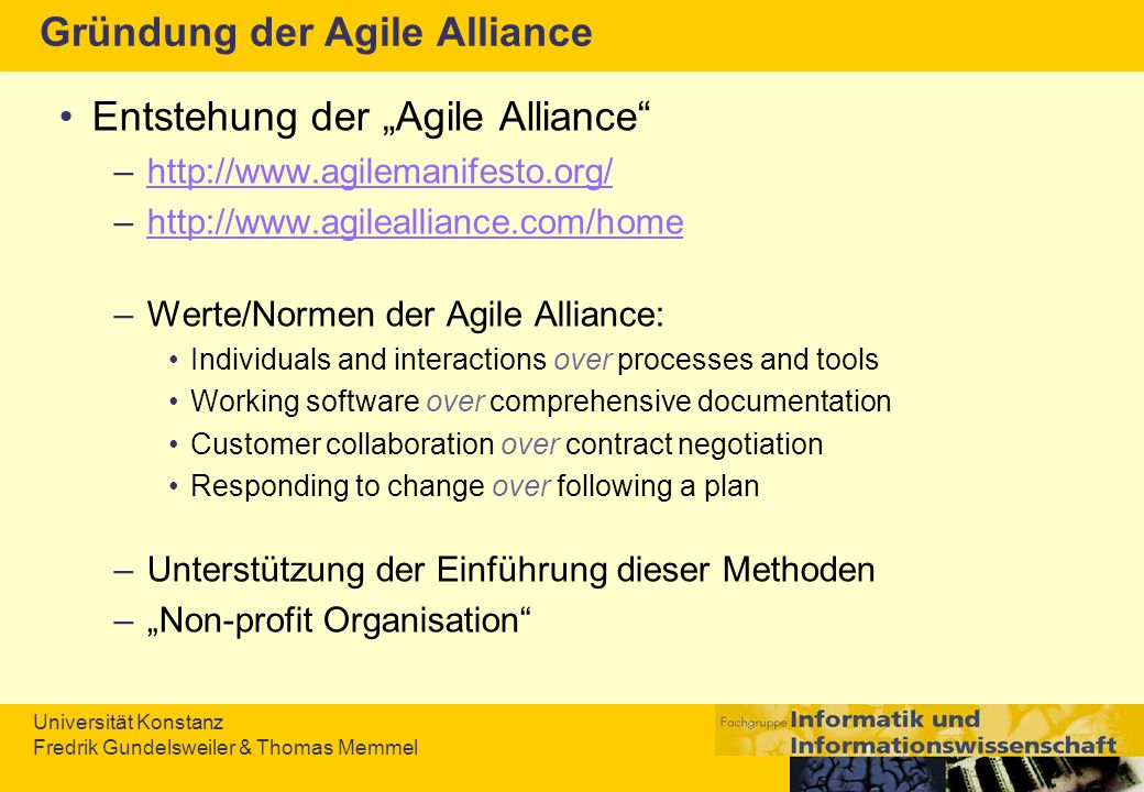 Universität Konstanz Fredrik Gundelsweiler & Thomas Memmel Agile Modeling (Scott W.