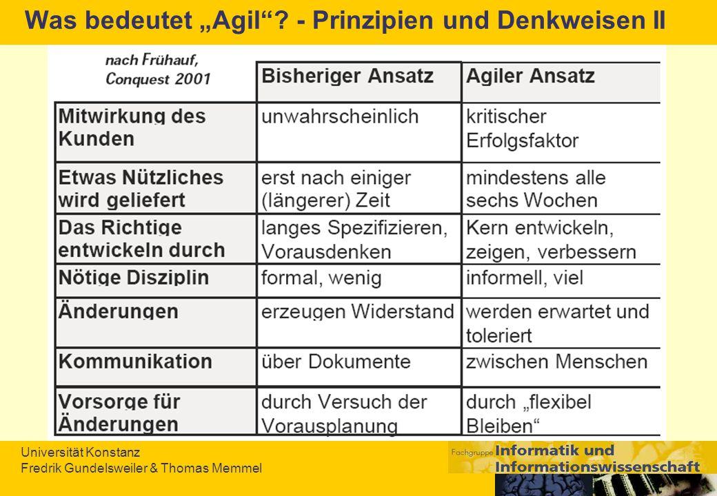 Universität Konstanz Fredrik Gundelsweiler & Thomas Memmel Was bedeutet Agil? - Prinzipien und Denkweisen II