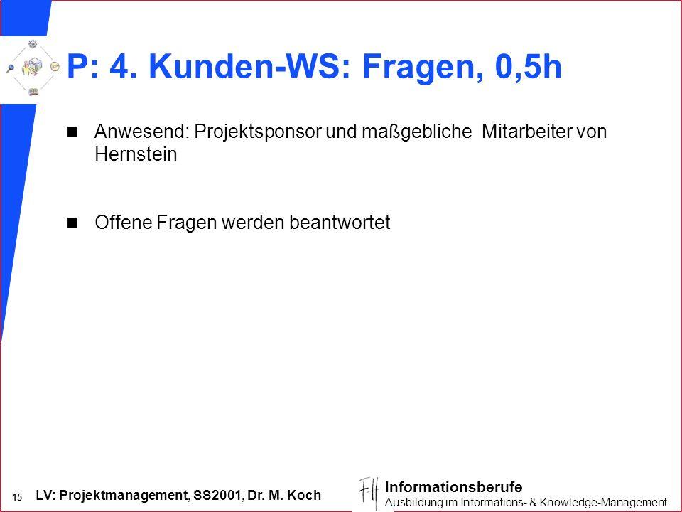 LV: Projektmanagement, SS2001, Dr. M. Koch 15 Informationsberufe Ausbildung im Informations- & Knowledge-Management P: 4. Kunden-WS: Fragen, 0,5h n An