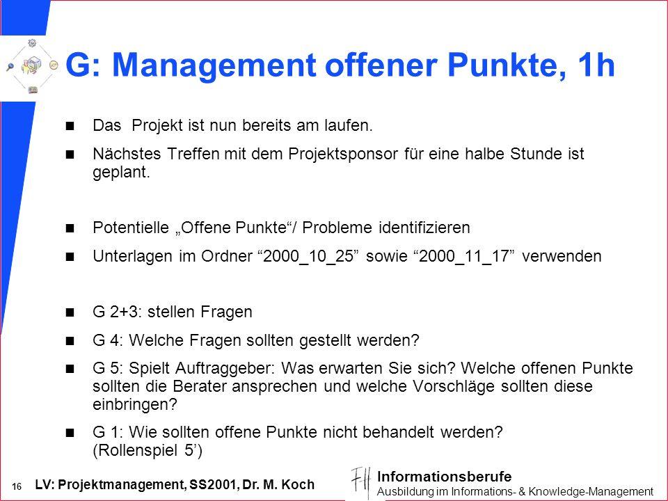 LV: Projektmanagement, SS2001, Dr. M. Koch 16 Informationsberufe Ausbildung im Informations- & Knowledge-Management G: Management offener Punkte, 1h n