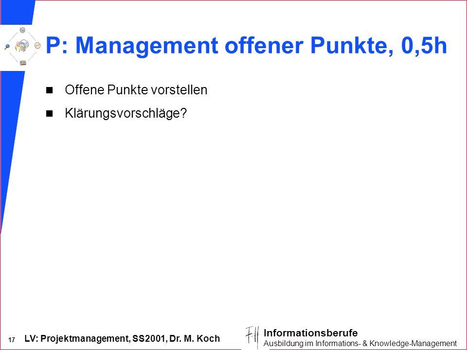 LV: Projektmanagement, SS2001, Dr. M. Koch 17 Informationsberufe Ausbildung im Informations- & Knowledge-Management P: Management offener Punkte, 0,5h