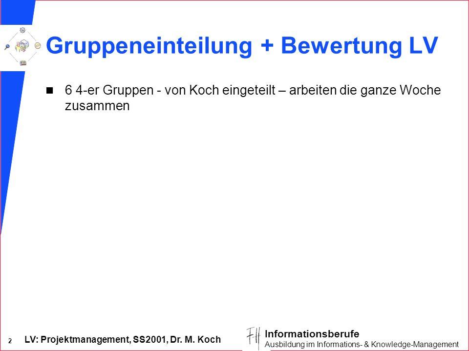 LV: Projektmanagement, SS2001, Dr. M. Koch 2 Informationsberufe Ausbildung im Informations- & Knowledge-Management Gruppeneinteilung + Bewertung LV n