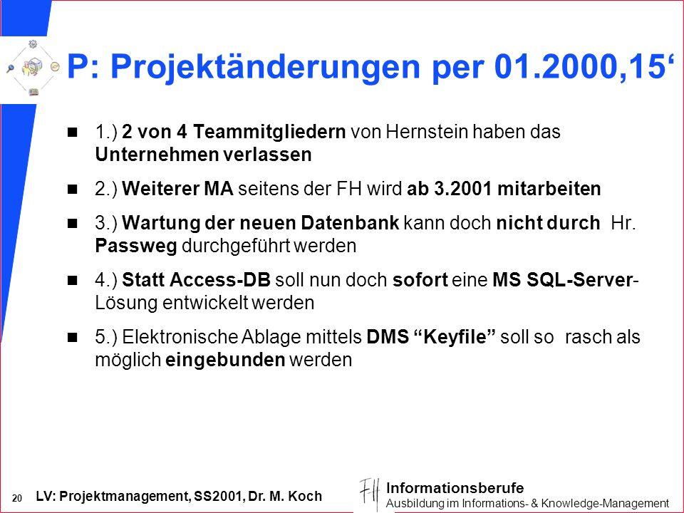 LV: Projektmanagement, SS2001, Dr. M. Koch 20 Informationsberufe Ausbildung im Informations- & Knowledge-Management P: Projektänderungen per 01.2000,1