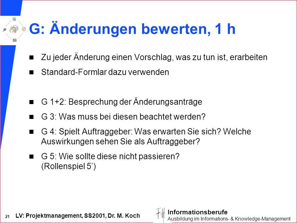 LV: Projektmanagement, SS2001, Dr. M. Koch 21 Informationsberufe Ausbildung im Informations- & Knowledge-Management G: Änderungen bewerten, 1 h n Zu j