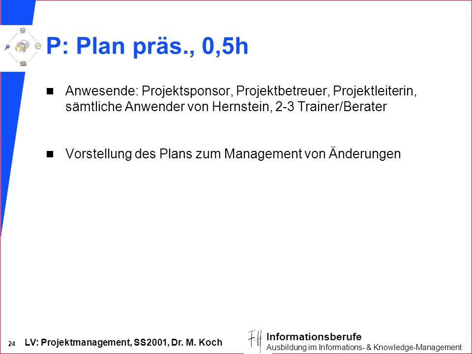 LV: Projektmanagement, SS2001, Dr. M. Koch 24 Informationsberufe Ausbildung im Informations- & Knowledge-Management P: Plan präs., 0,5h n Anwesende: P