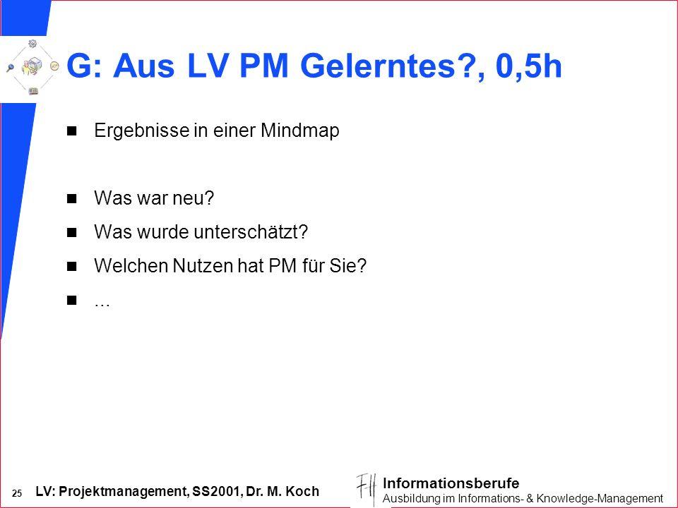 LV: Projektmanagement, SS2001, Dr. M. Koch 25 Informationsberufe Ausbildung im Informations- & Knowledge-Management G: Aus LV PM Gelerntes?, 0,5h n Er