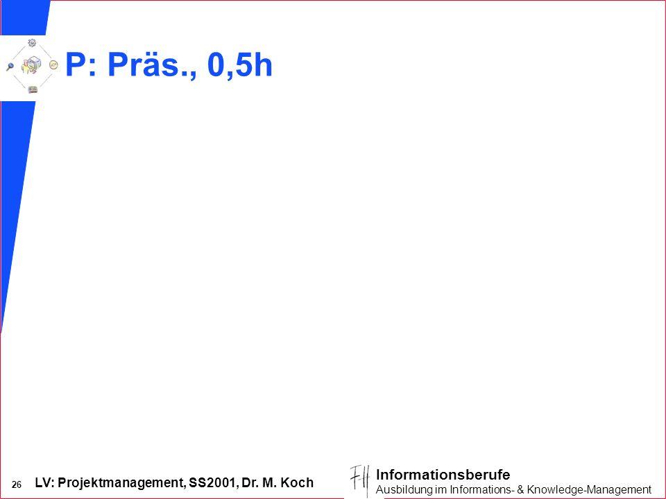 LV: Projektmanagement, SS2001, Dr. M. Koch 26 Informationsberufe Ausbildung im Informations- & Knowledge-Management P: Präs., 0,5h