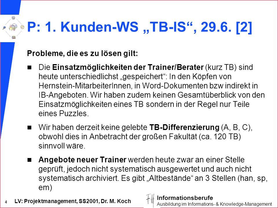 LV: Projektmanagement, SS2001, Dr. M. Koch 4 Informationsberufe Ausbildung im Informations- & Knowledge-Management P: 1. Kunden-WS TB-IS, 29.6. [2] Pr