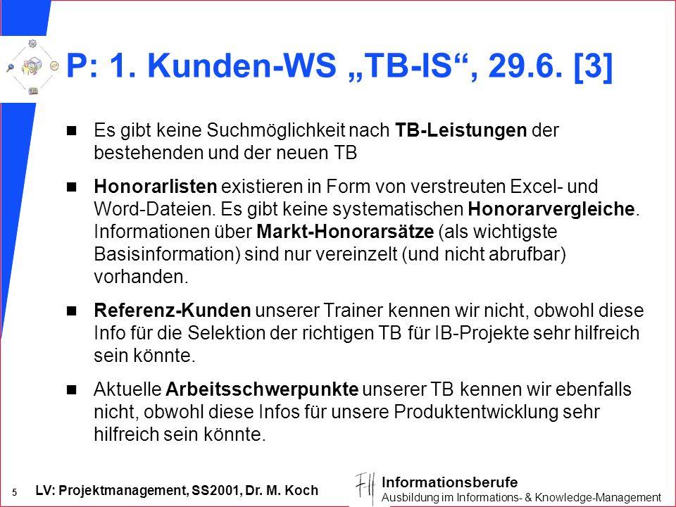 LV: Projektmanagement, SS2001, Dr. M. Koch 5 Informationsberufe Ausbildung im Informations- & Knowledge-Management P: 1. Kunden-WS TB-IS, 29.6. [3] n