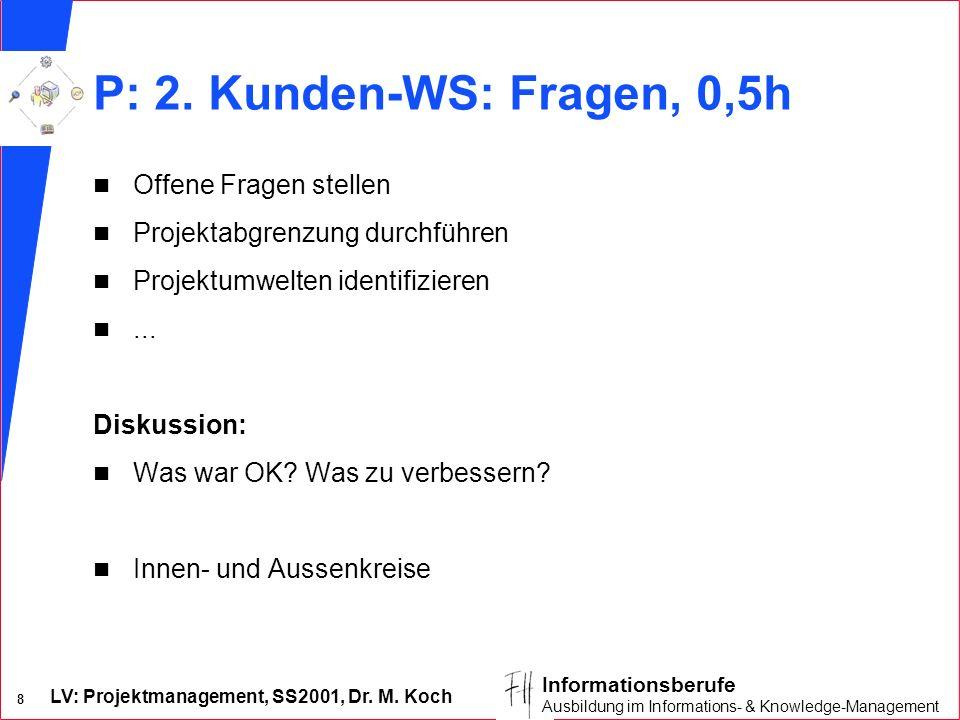 LV: Projektmanagement, SS2001, Dr. M. Koch 8 Informationsberufe Ausbildung im Informations- & Knowledge-Management P: 2. Kunden-WS: Fragen, 0,5h n Off