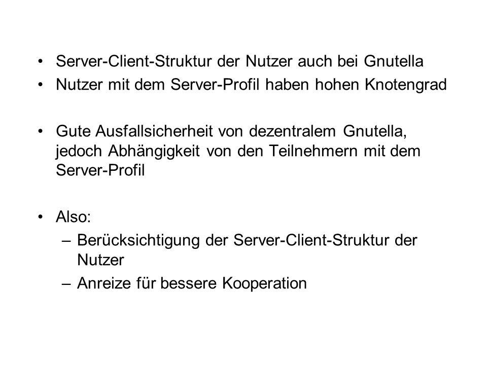 Server-Client-Struktur der Nutzer auch bei Gnutella Nutzer mit dem Server-Profil haben hohen Knotengrad Gute Ausfallsicherheit von dezentralem Gnutella, jedoch Abhängigkeit von den Teilnehmern mit dem Server-Profil Also: –Berücksichtigung der Server-Client-Struktur der Nutzer –Anreize für bessere Kooperation