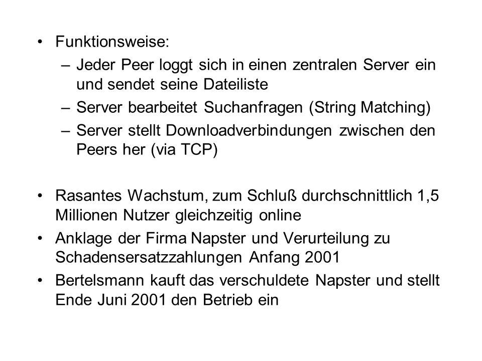 Funktionsweise: –Jeder Peer loggt sich in einen zentralen Server ein und sendet seine Dateiliste –Server bearbeitet Suchanfragen (String Matching) –Server stellt Downloadverbindungen zwischen den Peers her (via TCP) Rasantes Wachstum, zum Schluß durchschnittlich 1,5 Millionen Nutzer gleichzeitig online Anklage der Firma Napster und Verurteilung zu Schadensersatzzahlungen Anfang 2001 Bertelsmann kauft das verschuldete Napster und stellt Ende Juni 2001 den Betrieb ein