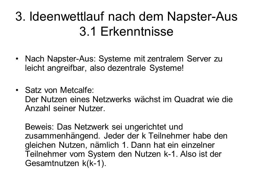 3. Ideenwettlauf nach dem Napster-Aus 3.1 Erkenntnisse Nach Napster-Aus: Systeme mit zentralem Server zu leicht angreifbar, also dezentrale Systeme! S