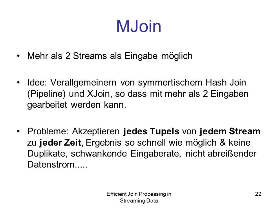 Efficient Join Processing in Streaming Data 22 MJoin Mehr als 2 Streams als Eingabe möglich Idee: Verallgemeinern von symmertischem Hash Join (Pipeline) und XJoin, so dass mit mehr als 2 Eingaben gearbeitet werden kann.