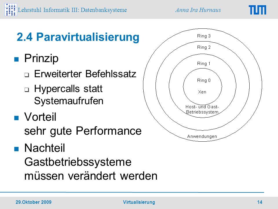 Lehrstuhl Informatik III: Datenbanksysteme Anna Ira Hurnaus 29.Oktober 2009 Virtualisierung 14 2.4 Paravirtualisierung Prinzip Erweiterter Befehlssatz