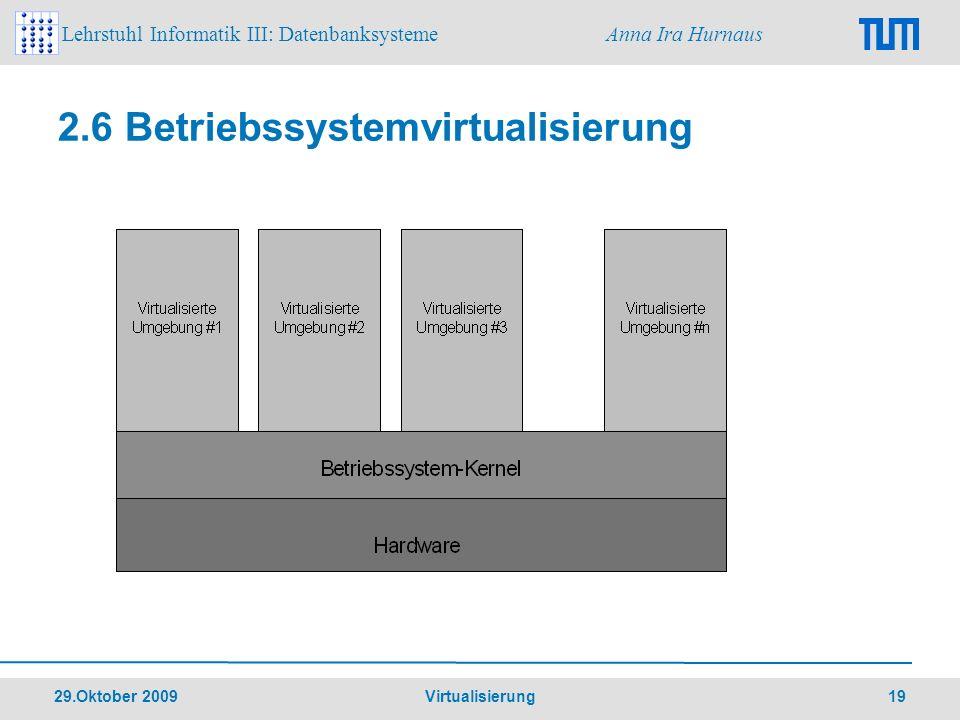 Lehrstuhl Informatik III: Datenbanksysteme Anna Ira Hurnaus 29.Oktober 2009 Virtualisierung 19 2.6 Betriebssystemvirtualisierung