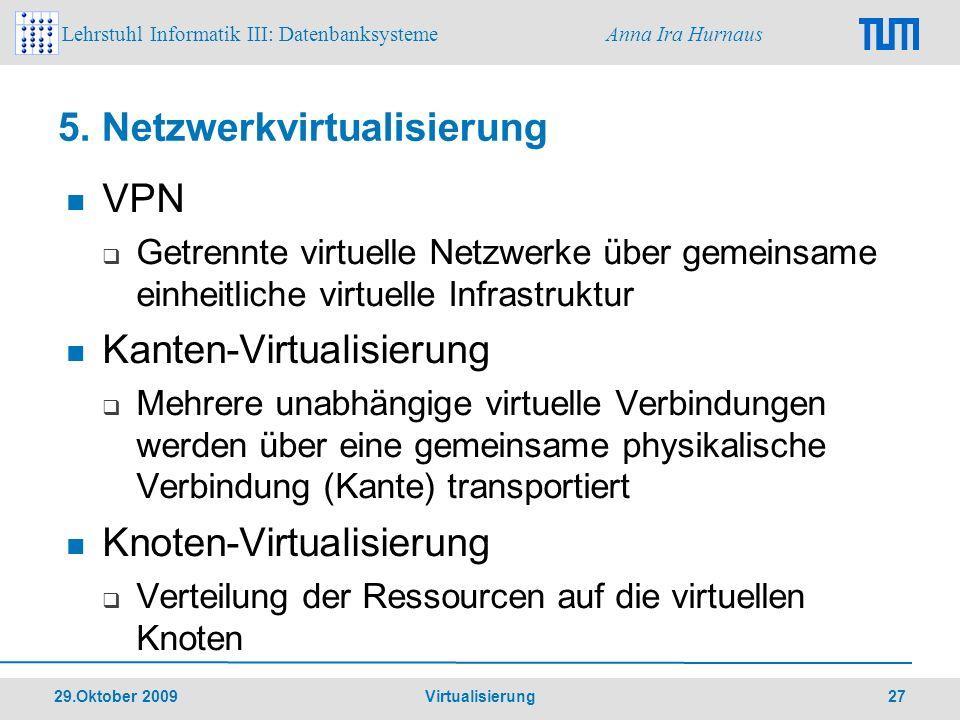 Lehrstuhl Informatik III: Datenbanksysteme Anna Ira Hurnaus 29.Oktober 2009 Virtualisierung 27 VPN Getrennte virtuelle Netzwerke über gemeinsame einhe