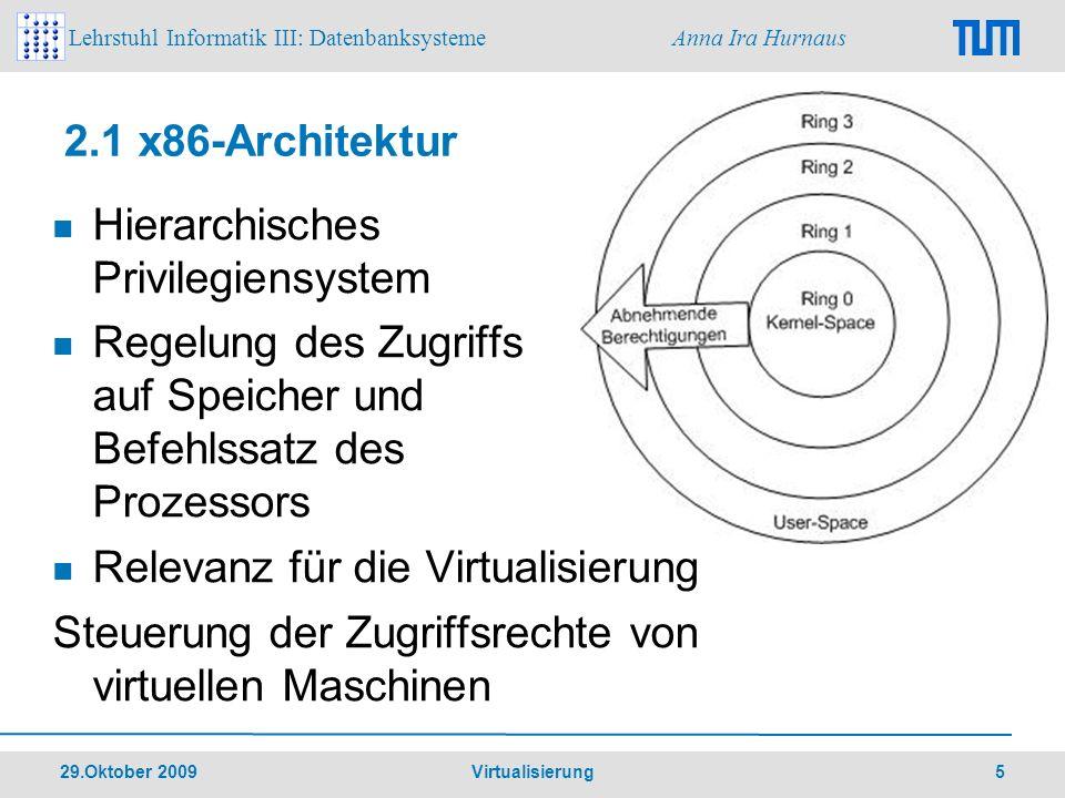 Lehrstuhl Informatik III: Datenbanksysteme Anna Ira Hurnaus 29.Oktober 2009 Virtualisierung 6 2.2 Hardware-Emulation Definition Architektur wird unabhängig von tatsächlicher Hardware vollständig in Software abgebildet Vorteil Unabhängigkeit Nachteile aufwändige Entwicklung Performanceverluste Lizenzrechte
