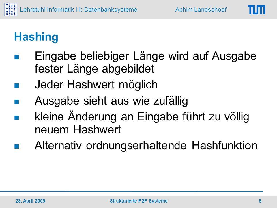 Lehrstuhl Informatik III: Datenbanksysteme Achim Landschoof 28.