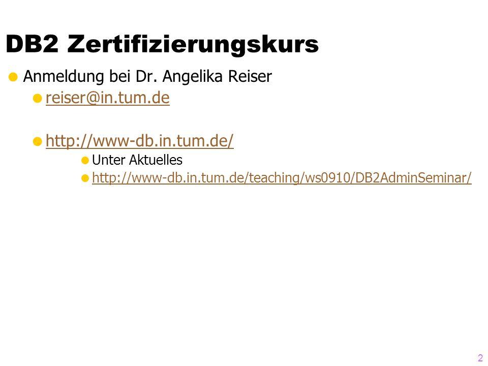 DB2 Zertifizierungskurs Anmeldung bei Dr.