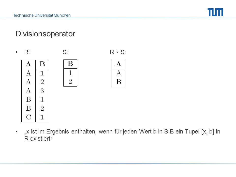 Technische Universität München Rekursive Views: alle Nachfolger der Vorlesung Mäeutik create view Nachfolger (Vorl, Nachf) as ((select v.Vorgänger, v.Nachfolger from voraussetzen v) union all (select v.Vorgänger, n.Nachf from voraussetzen v, Nachfolger n where v.Nachfolger = n.Vorl)); select v2.Titel from Vorlesungen v1, Nachfolger n, Vorlesungen v2 where v1.Titel = Mäeutik and v1.VorlNr = n.Vorl and n.Nachf = v2.VorlNr