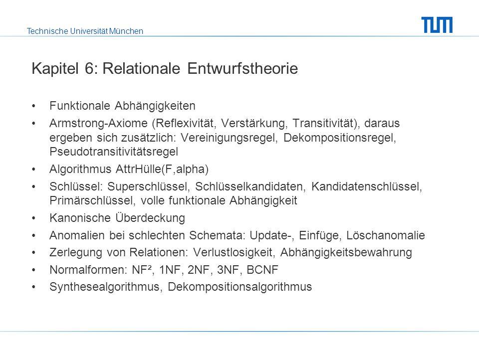 Technische Universität München Kapitel 7: Physische Datenorganisation RAID Tupel-ID = [Seite, Eintrag] für die Referenzierung von Tupeln Indexstrukturen: ISAM, B-Bäume, B+-Bäume, (erweiterbares) Hashing, R- Baum, Clustering, In SQL: create index … on …, drop index