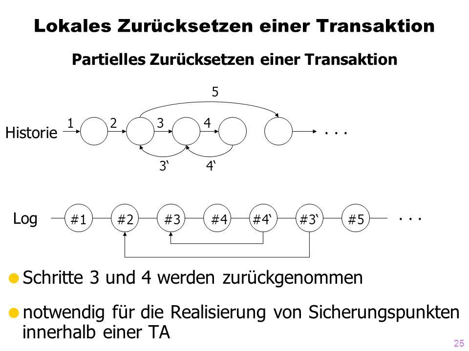 25 Lokales Zurücksetzen einer Transaktion Schritte 3 und 4 werden zurückgenommen notwendig für die Realisierung von Sicherungspunkten innerhalb einer TA 34 5 4321...