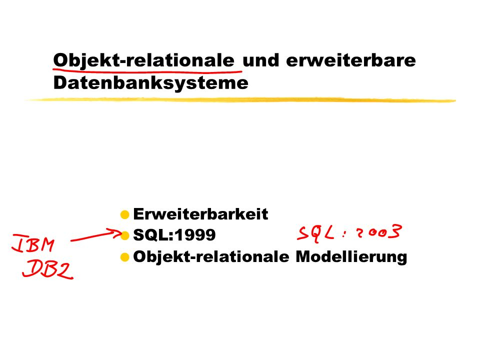 32 Anfragen auf geschachtelten Relationen SELECT s.Name, p.Note FROM StudentenTab s, TABLE(s.absolviertePruefungen) p; NAME NOTE -------------------- -------------- Theophrastos 1.3 Theophrastos 1.7 SELECT s.Name, p.Pruefer.Name, p.Inhalt.Titel, p.Note FROM StudentenTab s, TABLE(s.absolviertePruefungen) p; NAME PRUEFER.NAME INHALT.TITEL NOTE -------------------- -------------------- -------------------- ------------------------- Theophrastos Sokrates Maeeutik 1.3 Theophrastos Sokrates Ethik 1.7
