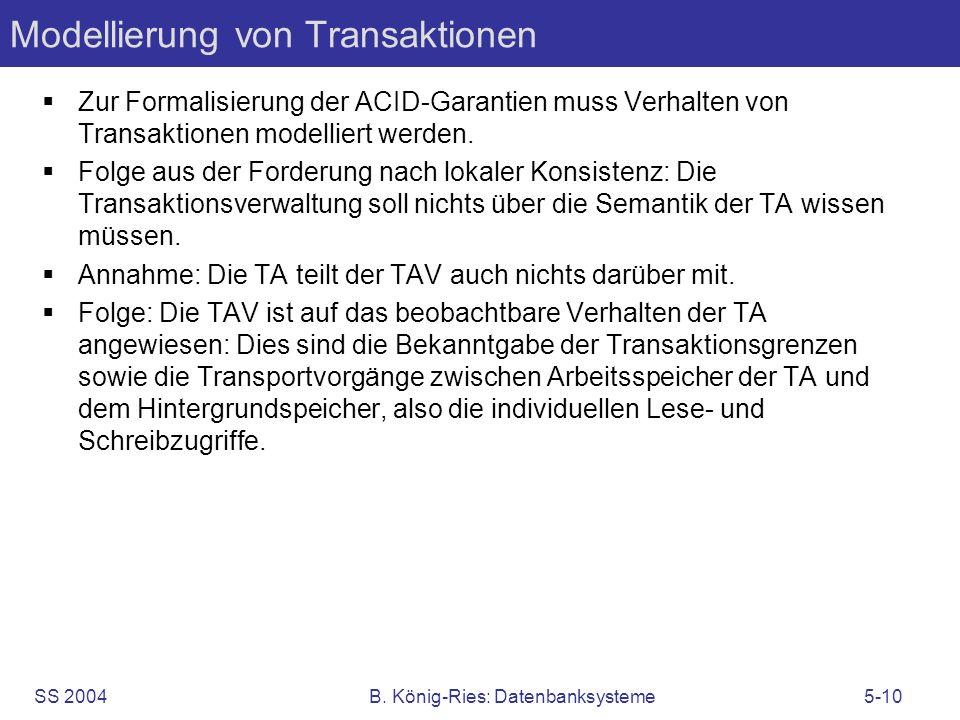 SS 2004B. König-Ries: Datenbanksysteme5-10 Modellierung von Transaktionen Zur Formalisierung der ACID-Garantien muss Verhalten von Transaktionen model
