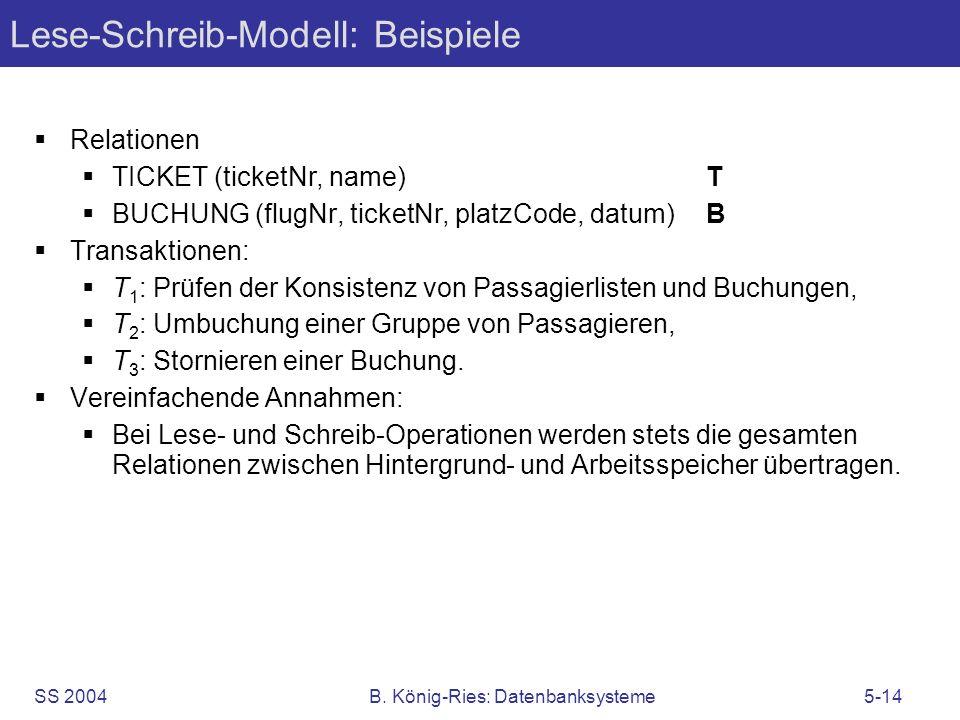 SS 2004B. König-Ries: Datenbanksysteme5-14 Lese-Schreib-Modell: Beispiele Relationen TICKET (ticketNr, name)T BUCHUNG (flugNr, ticketNr, platzCode, da