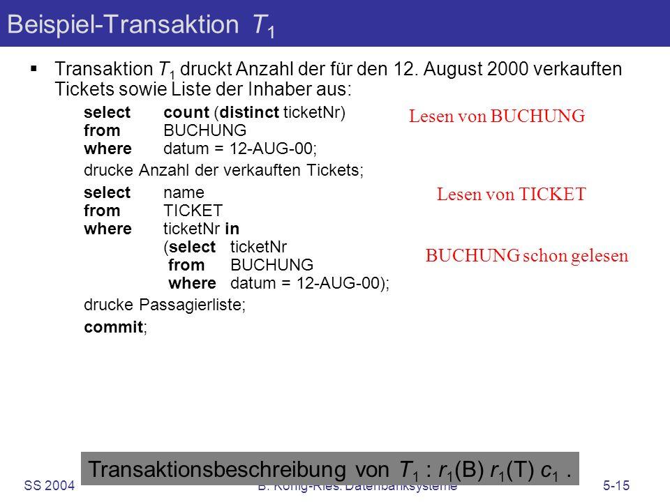 SS 2004B. König-Ries: Datenbanksysteme5-15 Beispiel-Transaktion T 1 Transaktion T 1 druckt Anzahl der für den 12. August 2000 verkauften Tickets sowie