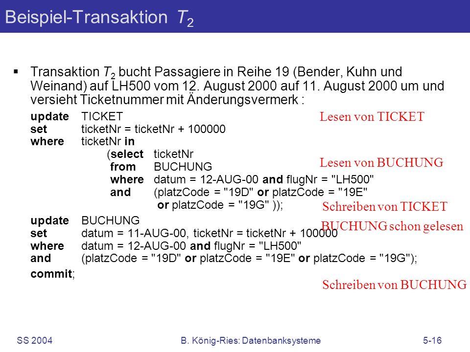 SS 2004B. König-Ries: Datenbanksysteme5-16 Beispiel-Transaktion T 2 Transaktion T 2 bucht Passagiere in Reihe 19 (Bender, Kuhn und Weinand) auf LH500