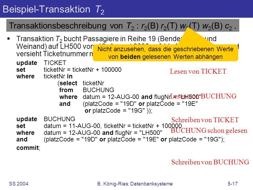 SS 2004B. König-Ries: Datenbanksysteme5-17 Beispiel-Transaktion T 2 Transaktion T 2 bucht Passagiere in Reihe 19 (Bender, Kuhn und Weinand) auf LH500