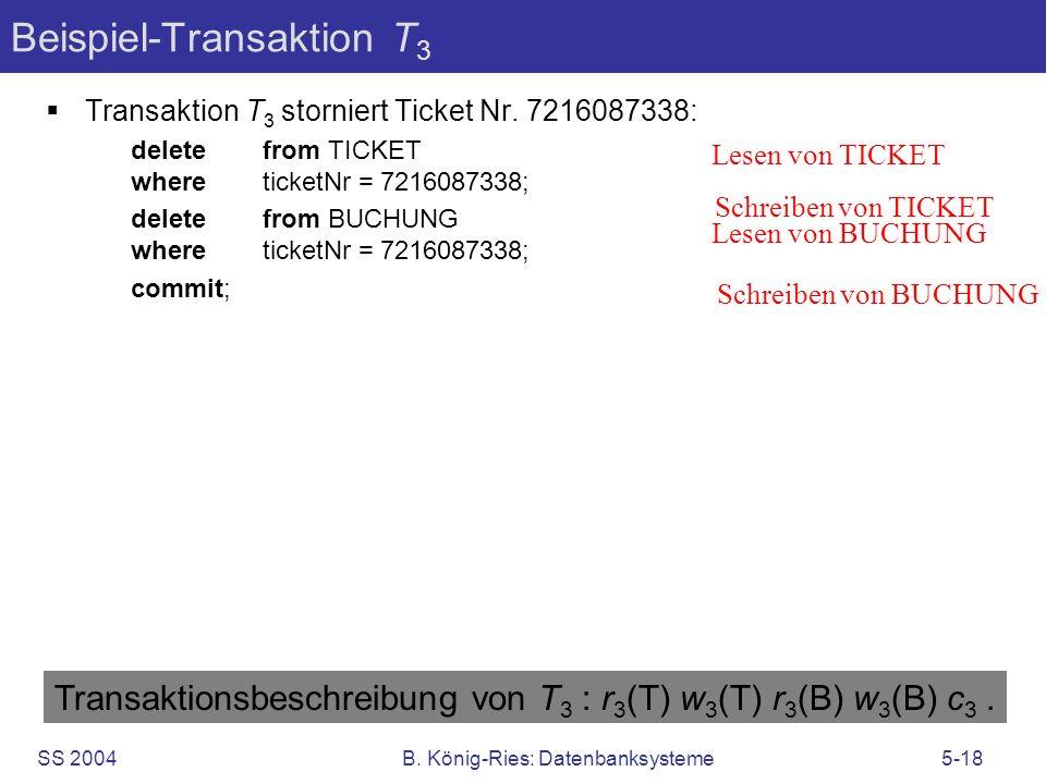 SS 2004B. König-Ries: Datenbanksysteme5-18 Beispiel-Transaktion T 3 Transaktion T 3 storniert Ticket Nr. 7216087338: delete from TICKET where ticketNr