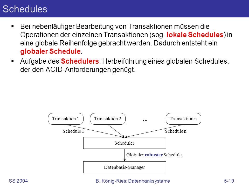 SS 2004B. König-Ries: Datenbanksysteme5-19 Schedules Bei nebenläufiger Bearbeitung von Transaktionen müssen die Operationen der einzelnen Transaktione