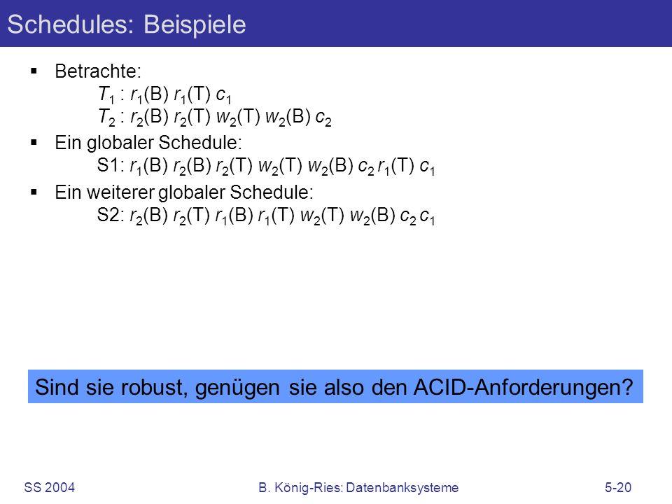 SS 2004B. König-Ries: Datenbanksysteme5-20 Schedules: Beispiele Betrachte: T 1 : r 1 (B) r 1 (T) c 1 T 2 : r 2 (B) r 2 (T) w 2 (T) w 2 (B) c 2 Ein glo