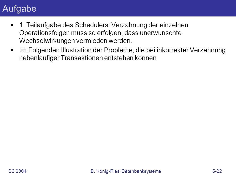 SS 2004B. König-Ries: Datenbanksysteme5-22 Aufgabe 1. Teilaufgabe des Schedulers: Verzahnung der einzelnen Operationsfolgen muss so erfolgen, dass une