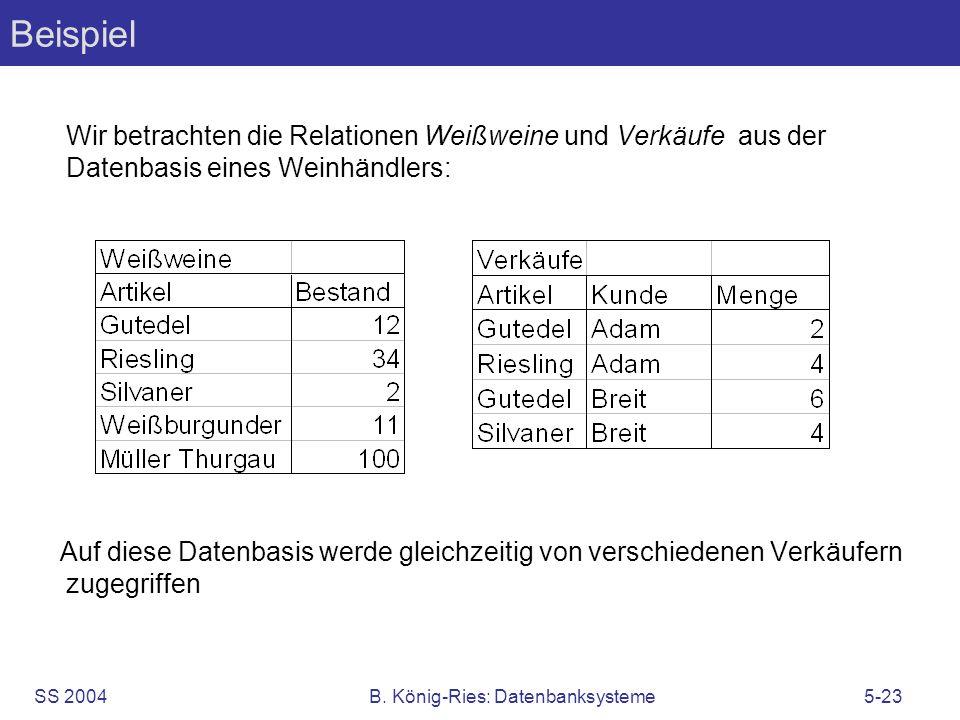 SS 2004B. König-Ries: Datenbanksysteme5-23 Beispiel Wir betrachten die Relationen Weißweine und Verkäufe aus der Datenbasis eines Weinhändlers: Auf di